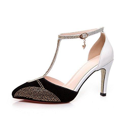 Amoonyfashion Donna Materiale Morbido Fibbia Punta Chiusa Punte Stiletti Sandali Di Colore Assortiti Bianco