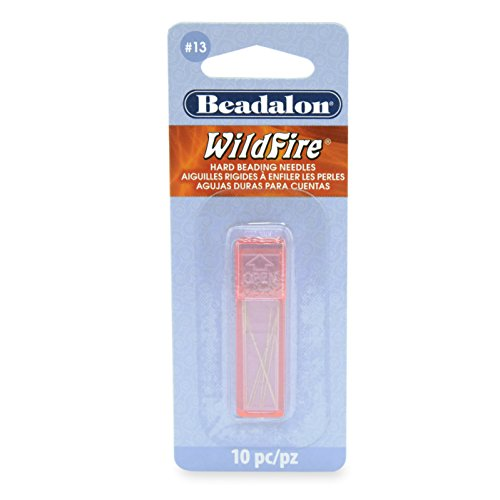 Beadalon Hard Beading Needles, Size 13, For Bead Cord Sizesup to 011 In, 10Piece with Case (Beading Needle Sizes)