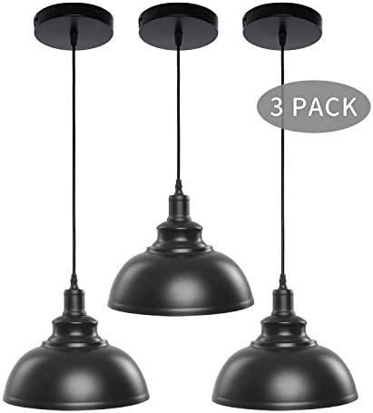 Pendant Lights, Lika Industrial Barn Ceiling Light Fixtures Black Hanging Pendant Lighting for Kitchen Island, Dining Room, Foyer Black and Hemispheres Three Pack-Save 14.95