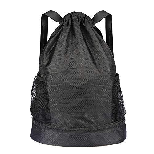 DAJIABUY Waterproof Drawstring Backpack Sport Foldable Gymsack Drawstring Bag (Black)