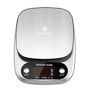 Digital Kitchen Scale by IDAODAN, Multifunction Food Scale LARGE Weight Max 22lb 10kg, with LCD Display, Auto Shut-Off and Tare Function, Food Grade Stainless Steel Material (silver 22lb)