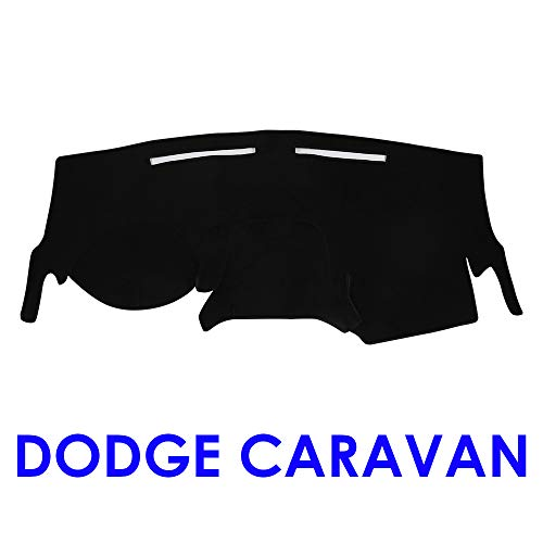 JIAKANUO Dash Cover Fit for Dodge Caravan 2011-2018, Dashboard Mat Sunshield Protector Pad Non-Slip,Anti-Glare,Extra Thick (Black) MR008