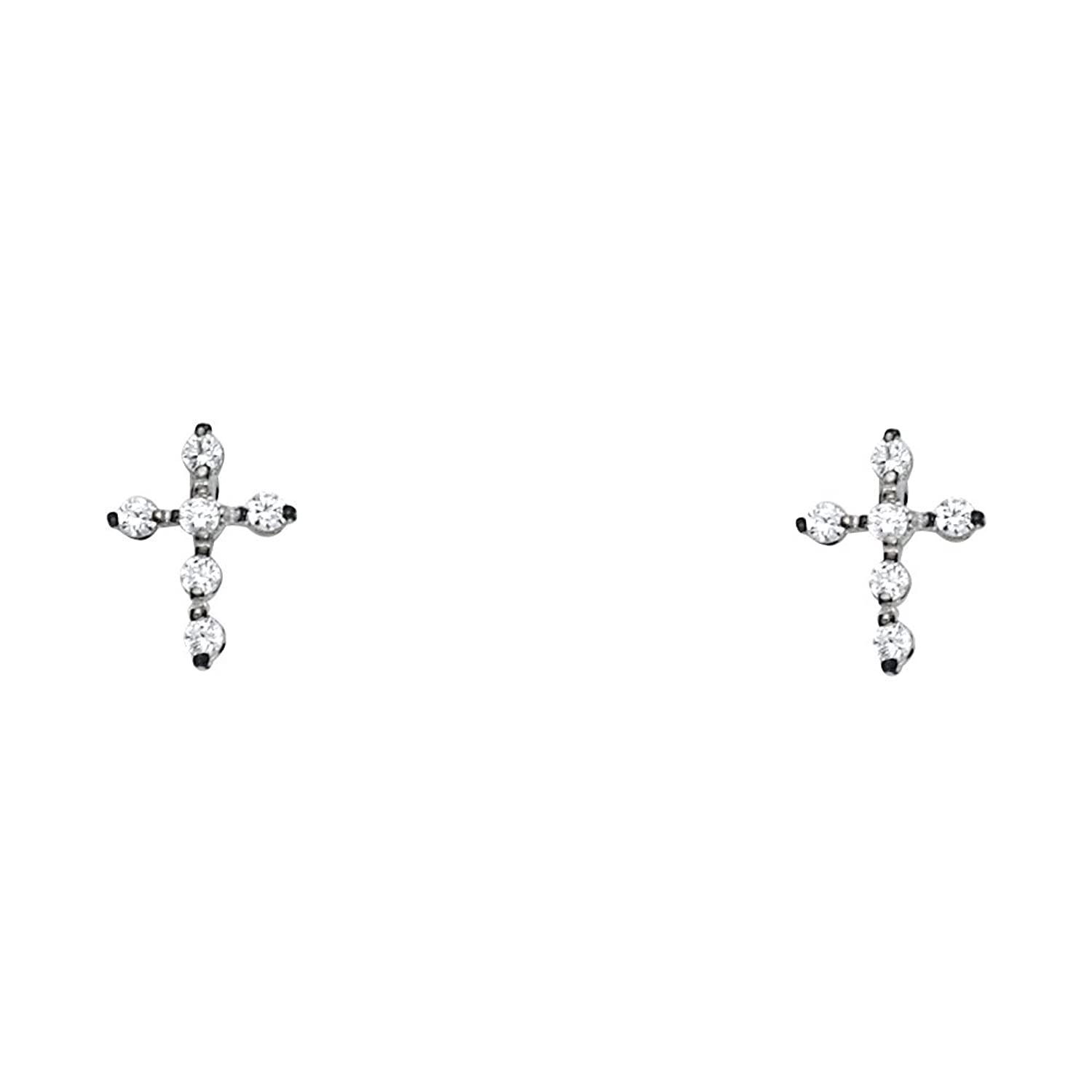 14k Yellow OR White Gold Cross Stud Earrings with Screw Back
