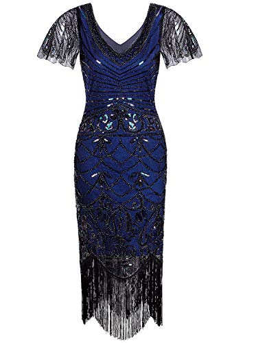 VIJIV Great Gatsby Dresses for Women Roaring 20's V Neck Vintage Mermaid Beaded Evening Cocktail 1920s Flapper Dress with Sleeves Blue