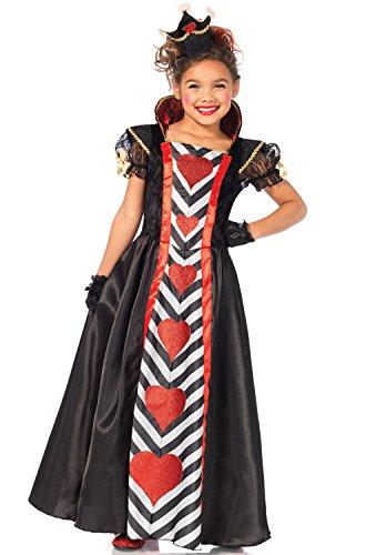 Leg Avenue Wonderland Queen Girls Costume, Black/Red, Small