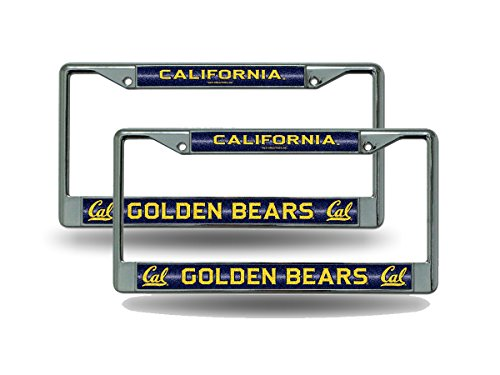 Rico Cal Berkeley Golden Bears NCAA Glitter Bling Chrome (2) License Plate Frame Set