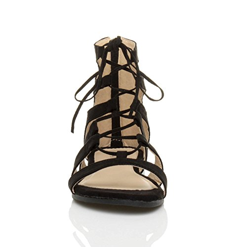 Black Ghillie Strappy Women Sandals Size up Ajvani Suede Flat Lace XqgxwX8U