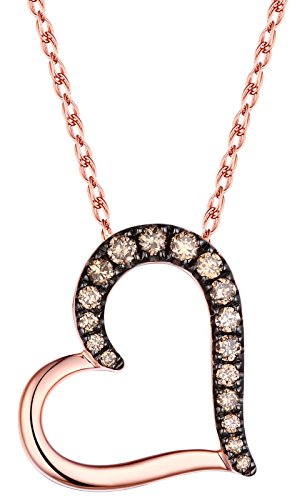 Prism Jewel 0.26Ct Natural Brown Diamond Heart Shaped Valentine Pendant With Chain, 10k Rose Gold ()