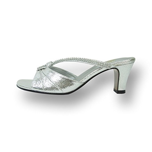 Width On Available FIC Silver Sandals Wide Guide Measurement Women FLORAL Shiny Size Heeled Dress Chrissy Slip rpqq0I6TZ