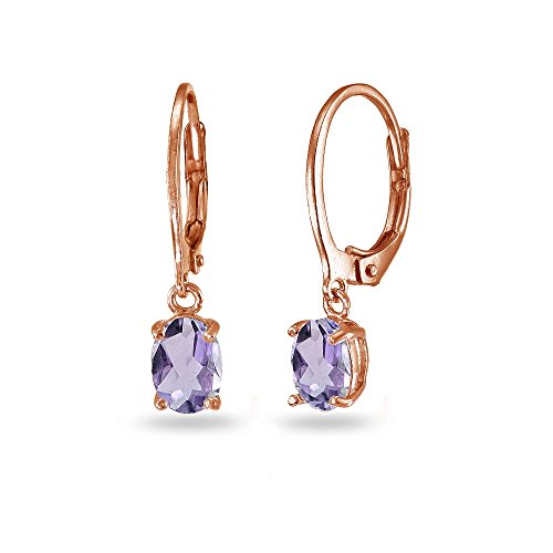 Gold Oval Amethyst Earrings - LOVVE Rose Gold Flashed Sterling Silver Amethyst 7x5mm Oval Dangle Leverback Earrings