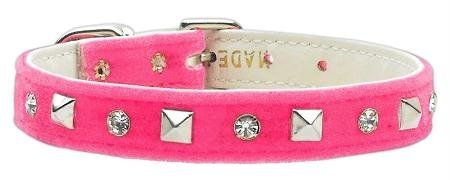 Mirage Pet Products Collar 84-26 12PK Velvet Crystal and Pyramid Collars Pink 12