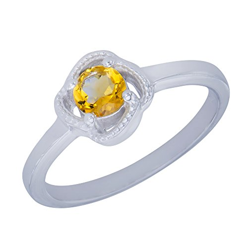 Caratera Womens Rings Unique Genuine Natural Citrine Gemstone Sterling Silver Round Shapes Jewelry Womens Ring ()