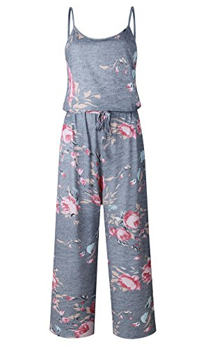NEWCOSPLAY Women's Floral Print Sleeveless Off Shoulder Wide Leg Pants Jumpsuit Romper