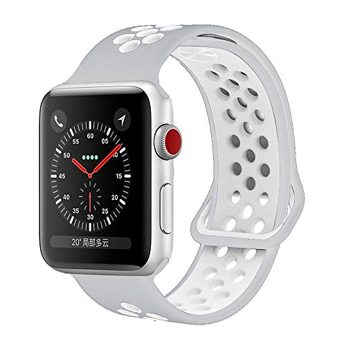 YC YANCH Greatou Compatible for Apple Watch Band,Soft Silicone Sport Band Replacement Wrist Strap Compatible for iWatch Apple Watch Series 3/2/1,Nike+,Sport,Edition,42mm 44mm M/L,Pure Platinum White