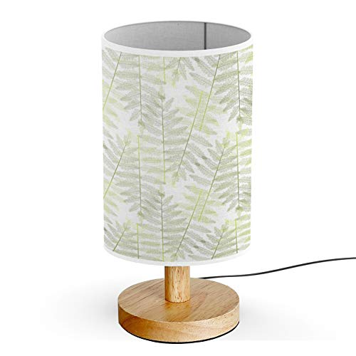 ARTSYLAMP - Wood Base Decoration Desk Table Bedside Light Lamp [ Green Fern Leaves ] ()