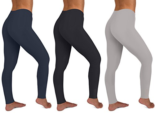 Womens 3 Pack Active Yoga Workout Cotton Stretch Fashion Long Leggings (Large,...