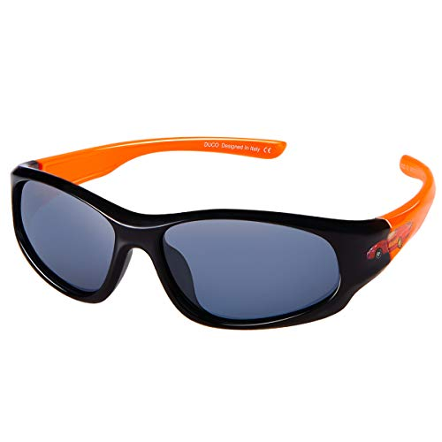 - DUCO Kids Sports Style Polarized Sunglasses Flexible Frame For Boys and Girls (Black Frame Orange Temple, 2.16)