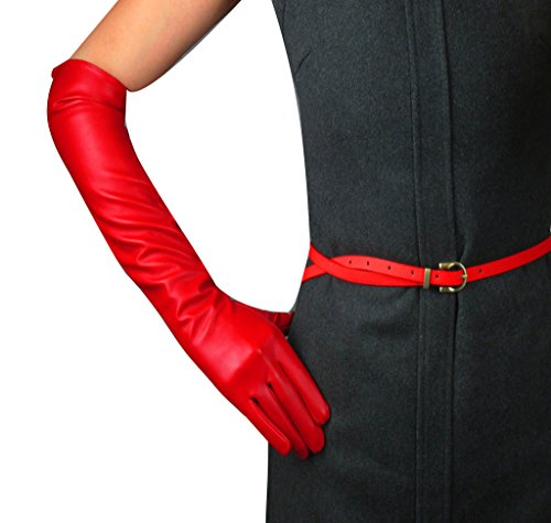 Edith qi Women's Long Evening Dress Faux Leather Elbow Length Party Gloves,Medium,Red
