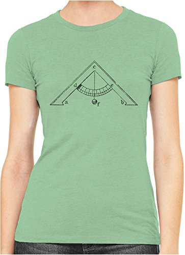 Old Leveling Tool Diagram Womens Hand Printed Slim Cotton T-Shirt, Red, XX-Large