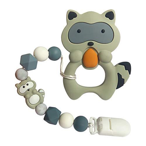 - joylnk Baby Boys Teething Toys Silicone Teether Molar Egg Cartoon Animal Raccoon Trendy Chew Beads Pendant Holder PBA Free for Babies MAM Newborn Shower Gifts (Gray)