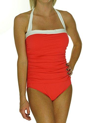 (Lauren by Ralph Lauren Women's Bel Aire Solids Shirred Bandeau Mio Slimming Fit One-Piece, Bright Coral,)