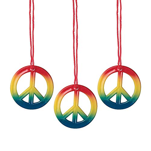 - Fun Express - Rainbow Peace Sign Hippie Necklaces (4 dz)