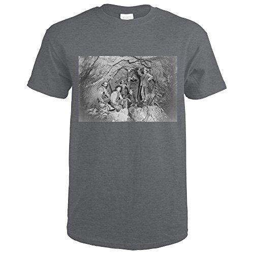 Lantern Press Coeur Dalene  Idaho   Chance Mine Lead Mining   Vintage Photograph  Dark Grey Heather T Shirt Xx Large