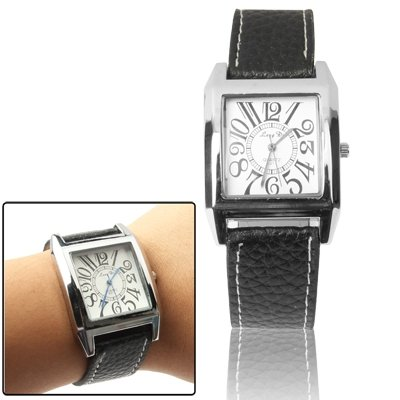 Classic Quartz Wrist Watch +Synthetic Leather Strap Watch (Black) Premium Quality (Color : Black) by GuiPing