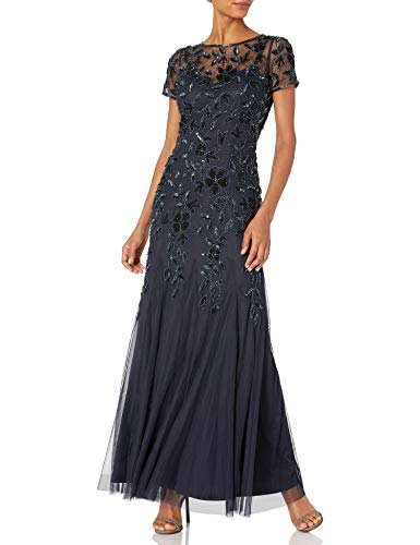 Adrianna Papell Women's Floral Beaded Godet Gown, Twilight, 14