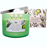 T&H Stress Relief Aromatherapy Candles 3 Wick Pure Soy Wax Scented Candle 80 Hour Burn Long Lasting 16 Ounce Handmade Glass (Lime Basil Mandarin)
