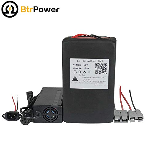 52V 15AH Ebike Lithium ion Battery Pack for 500W 750W Electric Bike Scooter 58.8V 3A Charger + 50A BMS by BtrPower (Image #1)