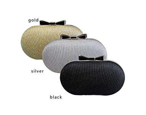 GSHGA Bolsos De Mujer De Embrague La Moda De Arrugas Bolsa De Noche Bolsa De Hombro Messenger Bag,Black Silver
