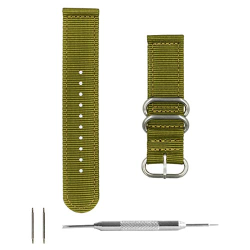 (Benchmark Straps 22mm Army Green Ballistic Nylon 2-Piece Zulu Watchband + Spring Bar Removal Tool )
