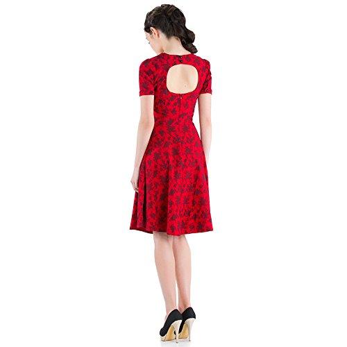 Voodoo Vixen 50s Robe Rétro Fleuri–Glamour Fleurs roses vintage dress Rouge