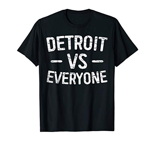Mens Detroit VS Everyone T-Shirt Funny Michigan Gift Shirt Large Black