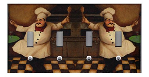 FAT CHEF KITCHEN HOME DECOR LIGHT SWITCH PLATES AND OUTLETS- Quad ()