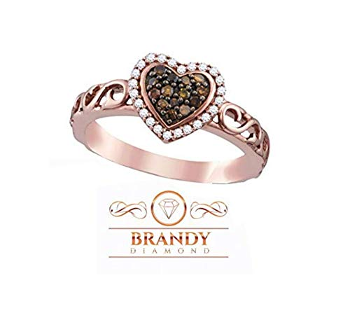 - Brandy Diamond Chocolate Brown 18K Rose Gold Silver Heart Halo Fine Design Ring 1/4 Ctw. (8)