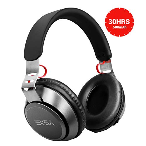 EKSA 30hr Bluetooth Over Ear Headphones with Mic, Wireless Wired Bluetooth 4.2 Headphones Microphone, on Headsets Volume Control Kids Women for Cell Phones iPhone TV PC, Black