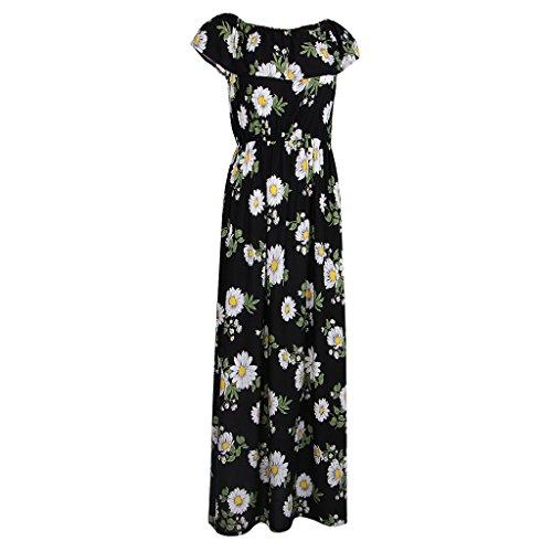 Magideal Vestido Largo Maxi Impresión Floral Sin Tirantes Verano Mujeres Club de Noche Regreso a Casa negro 1
