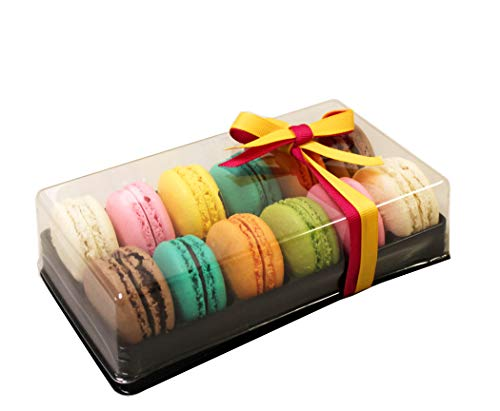 Clear and Black Base Plastic French Macarons Small Gift Boxes - Holds 12 Macarons - Cavity Size 1.76'' x 1'' - Pack of 10 ()