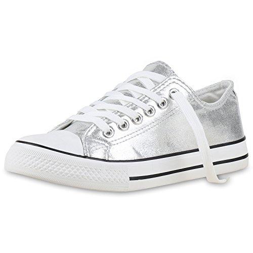 Japado Elegante Damen Sneakers Low Glitzer Canvas Schuhe Turnschuhe Freizeit Gr. 36-41 Silber Metallic