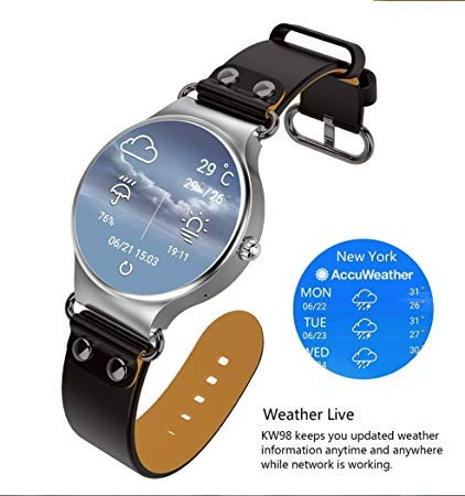 KW98 Smart Watch Android 5.1 3G WiFi GPS Watch Smartwatch for iOS Android (Silver/Black)