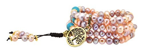 Pink and Purple Dyed Freshwater Cultured Pearls Yoga Meditation 108 Prayer Beads Mala Wrap Bracelet or Necklace (Brass Tree of (Purple Pearl Necklace Bracelet)