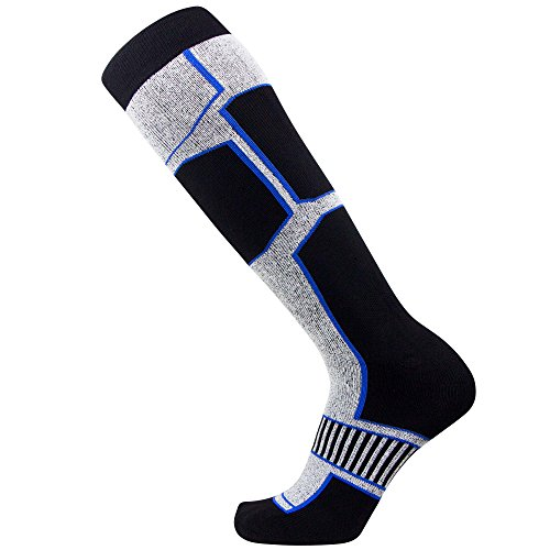 Snowboard Socks - Comfortable Warm Outdoor Socks for Skiing and Snowboarding - Warm Board Socks, Ski Socks for Men and Women (Black-White-Blue, Large)