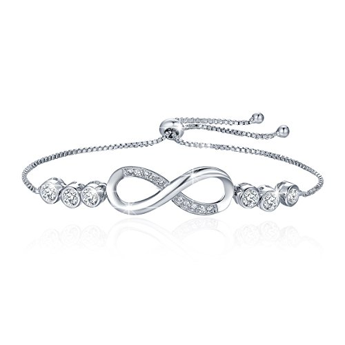 Charm Plated Gold White (BAMOER 925 Sterling Silver Adjustable White Gold Plated Infinity Bracelet Love Symbol Charm Bracelet with Sparkling Cubic Zirconia for Women Girls Perfect Gift for Her)