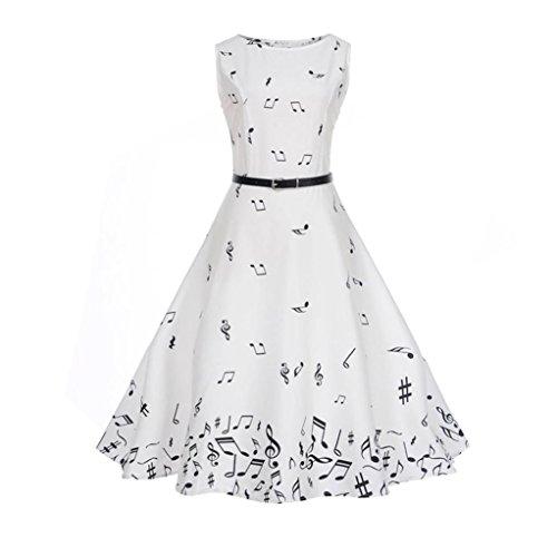 Vestido de mujer, ❤️Xinantime Vestido de fiesta de noche casual Swing Dress Vestido de bola sin mangas floral de la vendimia de las mujeres ️