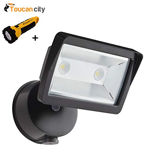 Toucan City LED Flashlight and Lithonia Lighting Bronze Outdoor Integrated LED Wall Mount Flood Light with Dusk to Dawn Photocell OLFL 14 PE BZ NAHD M4
