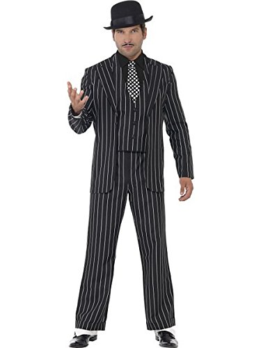 [Smiffy's Men's Vintage Gangster Boss Costume, Jacket, Tie, Waistcoat Mock Shirt and pants, 20's Razzle Dazzle, Serious Fun, Size M,] (Gangster Costumes For Halloween)