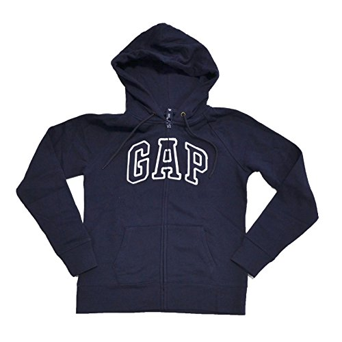 GAP Womens Fleece Arch Logo Full Zip Hoodie (Navy Blue, X-Large)