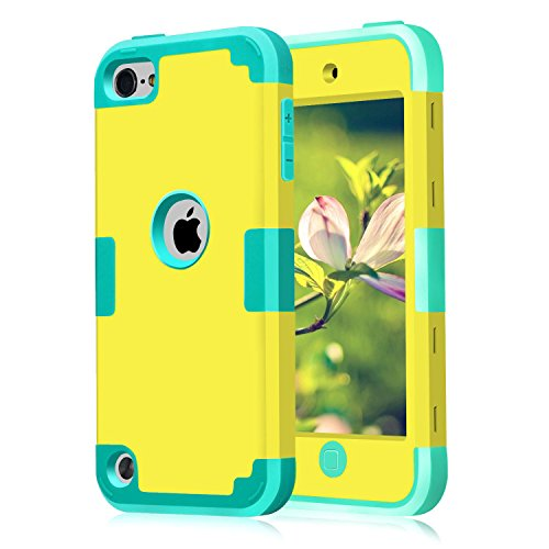 iPod Touch 6th Generation Case,iPod Touch 5th Generation Case,iPod Touch Cases, iPod Touch 5 Case Dual Layer 3 in 1 Shockproof Case , Yellow+Blue (Ipod Touch Yellow)